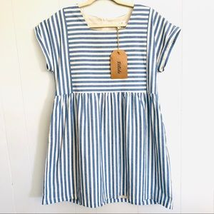 Listicle blue and cream striped baby doll dress